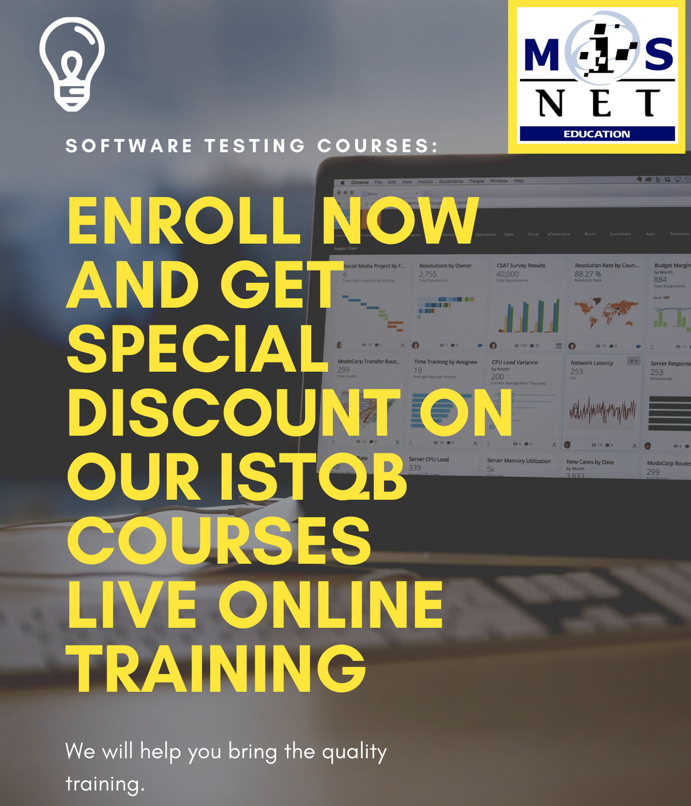 Enroll and Get a Special Discount on our ISTQB Courses Live Online Training. Scheduled Dates:  ?ISTQB Foundation Certificate - Open for Enrollment ?ISTQB Advanced Test Analyst - November 09 to 12, 2020 ?ISTQB Advanced Test Manager - November 16-20, 2020  Other Software Testing Courses: • ISTQB ADVANCED TECHNICAL TEST ANALYST • ISTQB ADVANCED TEST AUTOMATION ENGINEER • ISTQB ADVANCED SECURITY TESTER  Time: 9:00 AM - 5:00 PM each day  Please send your email to jaer@misnet-education.com to register or message us here on our Facebook page.  #learning #courses #onlinetraining #istqb #misneteduc #softwaretesting #planit